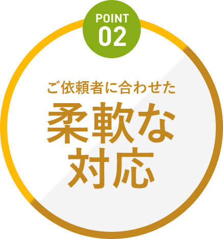 Point2 ご依頼者に合わせた柔軟な対応